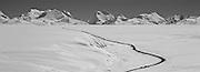 TIBET,HIMALAYAS,ROAD toNepal onroute Lalung La pass 5050m and Gauri Shanker 7134m.left