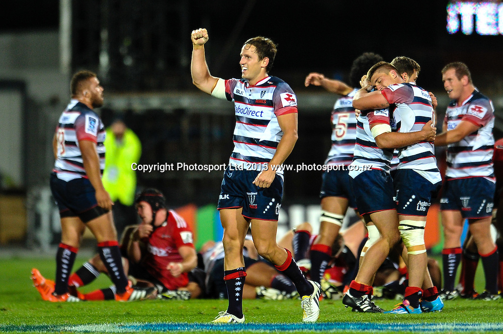 Mike Harris of the Rebels celebrates winning the game in the Super Rugby match, Crusaders v Rebels at AMI Stadium, Christchurch, New Zealand 13 February 2015. Photo:John Davidson/www.photosport.co.nz