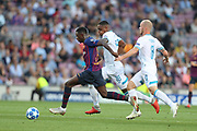 Ousmane Dembele of FC Barcelona evades Pablo Rosario of PSV Eindhoven during the UEFA Champions League, Group B football match between FC Barcelona and PSV Eindhoven on September 18, 2018 at Camp Nou stadium in Barcelona, Spain - Photo Manuel Blondeau / AOP Press / ProSportsImages / DPPI