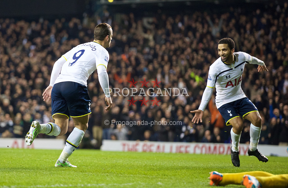 LONDON, ENGLAND - Sunday, November 30, 2014: Tottenham Hotspur's Roberto Soldado celebrates scoring the second goal against Everton with team-mate Aaron Lennon during the Premier League match at White Hart Lane. (Pic by David Rawcliffe/Propaganda)