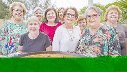 May 3, 2019 - Miami, FL, USA - De izq. a der.: Maria Luisa Martínez, Marta Aguado, Benita McDermott, Lourdes Buján, Mercedes Méndez Agraz, Norma Barquet, Luisa Duarte, Charito Izquierdo y Elita Sotorrio Vázquez se reunieron en Miami el 26 de abril del 2019. Ellas llegaron de adolescentes a Estados Unidos como parte del éxodo de Pedro Pan y compartieron en una escuela de Richmond, Virginia. (Credit Image: © TNS via ZUMA Wire)