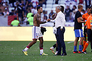 Depay Memphis of Lyon and Genesio Bruno coach of Lyon during the French championship L1 football match between Olympique Lyonnais and Amiens on August 12th, 2018 at Groupama stadium in Decines Charpieu near Lyon, France - Photo Romain Biard / Isports / ProSportsImages / DPPI