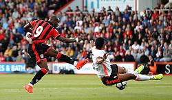 Benik Afobe of Bournemouth shoots at goal but it is blocked by Adellan Santos of Valencia - Mandatory by-line: Robbie Stephenson/JMP - 03/08/2016 - FOOTBALL - Vitality Stadium - Bournemouth, England - AFC Bournemouth v Valencia - Pre-season friendly