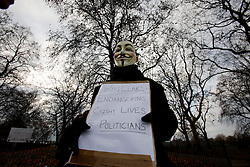 UK ENGLAND LONDON 11DEC10 - A supporter of Wikileaks wearing a Guy Fawkes mask participates in a demonstration at Speakers Corner in Hyde Park demanding the release of its founder Julian Assange...Assange was arrested in London by the Metropolitan Police Service on 7 December by appointment, after a voluntary meeting with the police. Later that day, Assange was refused bail and held in custody on remand...jre/Photo by Jiri Rezac..© Jiri Rezac 2010