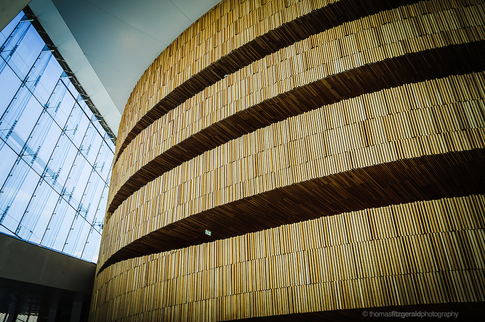 Oslo, Norway, October 2012: Wooden structure inside of the Opera House.EDITORIAL ONLY: This Image is only for Editorial Use