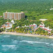 Aerial view of the Hidden Beach Resort. Akumal, Riviera Maya, Mexico.