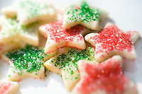 Sugar coated star shaped Christmas cookies.  Christmas Cookies - the traditional gift of Christmas