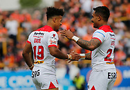 Regan Grace (L) of St Helens celebrates scoring the 1st try of the game against Castleford Tigers with team mate Ben Barba (R) during the Ladbrokes Challenge Cup match at the Mend-A-Hose Jungle, Castleford<br /> Picture by Stephen Gaunt/Focus Images Ltd +447904 833202<br /> 12/05/2018