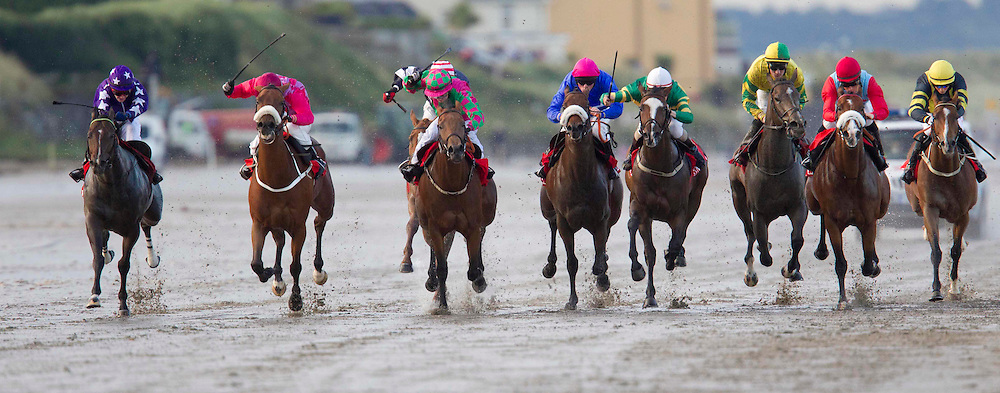 """Laytown Races 7th Sept 2010.Michael J. Browne trained """"Under Review"""" with J.A.Heffernan in the saddle (4th from left with pink cap) goes on to win the O`Neills Sports Handicap at Laytown (5th Race).Photo: David Mullen /www.cyberimages.net"""