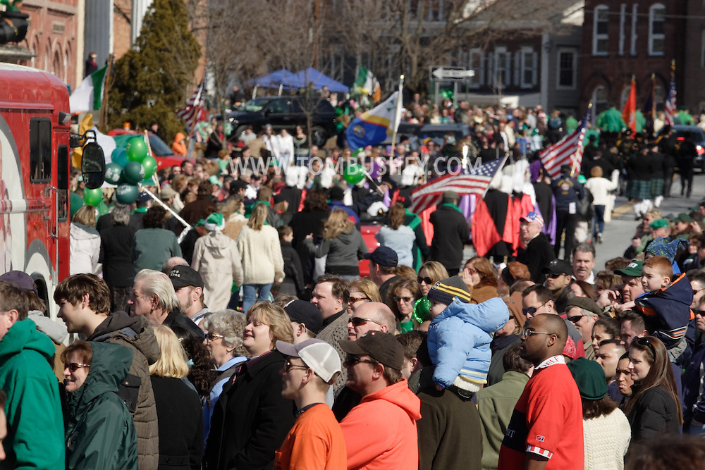 Goshen, New York -  Crowds line the streets to watch the Mid-Hudson St. Patrick's Day parade on March 11, 2007.