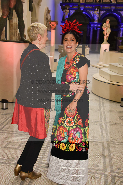 """Annie Lennox and Salma Hayek at the opening of """"Frida Kahlo: Making Her Self Up"""" Exhibition at the V&A Museum, London England. 13 June 2018."""