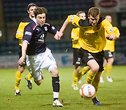Dundee's Nicky Riley goes past Livingston's Paul Watson - Dundee v Livingston, IRN BRU Scottish Football League, First Division at Dens Park - ..© David Young - .5 Foundry Place - .Monifieth - .Angus - .DD5 4BB - .Tel: 07765 252616 - .email: davidyoungphoto@gmail.com.web: www.davidyoungphoto.co.uk
