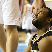 Erie BayHawks Lewis Jackson (12) wincing in pain after crashing to the floor after being fouled by Center Kyrylo Fesenko in the second half of a NBA D-league regular season basketball game between the Delaware 87ers (76ers) and the Erie BayHawks (Knicks) Tuesday, Feb. 11, 2014 at The Bob Carpenter Sports Convocation Center, Newark, DE