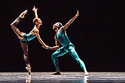 Based in Dresden, the Semperoper Ballett is internationally renowned for its distinguished ballet technique with both classical and contemporary repertoire. <br /> All Forsythe' features three pieces by William Forsythe, and this is the first of the three: In the Middle, Somewhat Elevated.   Picture features Kanako Fujimoto & Houston Thomas Coryphée. ©Tony Nandi.2018©Tony Nandi.2018
