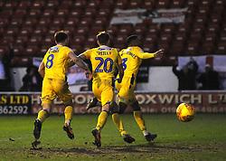 Tareiq Holmes-Dennis of Bristol Rovers celebrates his goal making it 1-3- Mandatory by-line: Nizaam Jones/JMP - 26/12/2018 - FOOTBALL - Banks's Stadium - Walsall, England- Walsall v Bristol Rovers - Sky Bet League One