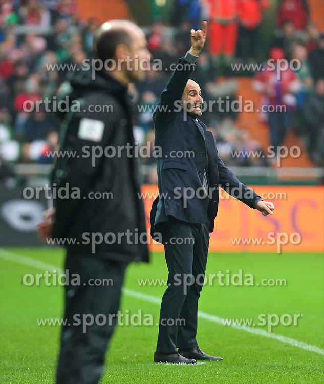 14.03.2015, Weserstadion, Bremen, GER, 1. FBL, SV Werder Bremen vs FC Bayern Muenchen, 25. Runde, im Bild Josep &quot;Pep&quot; Guardiola (Cheftrainer FC Bayern Muenchen / M&uuml;nchen) gestikulierend am Spielfeldrand, Viktor Skripnik (Cheftrainer SV Werder Bremen) im Vordergrund // during the German Bundesliga 25th round match between SV Werder Bremen and FC Bayern Munich at the Weserstadion in Bremen, Germany on 2015/03/14. EXPA Pictures &copy; 2015, PhotoCredit: EXPA/ Andreas Gumz<br /> <br /> *****ATTENTION - OUT of GER*****