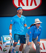 Tennis bad boy Fabio Fognini (ITA) faced 2013 Australian Open winner N. Djokovic in day seven of the 2014 Australian Open in Melbourne. Djokovic won over Fognini 3-6, 0-6, 2-6.