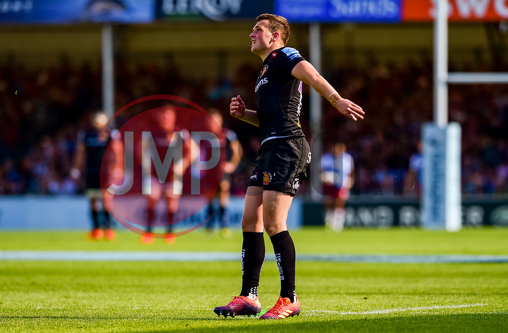 Joe Simmonds of Exeter Chiefs converts his kick following the try - Mandatory by-line: Ryan Hiscott/JMP - 25/05/2019 - RUGBY - Sandy Park - Exeter, England - Exeter Chiefs v Northampton Saints - Gallagher Premiership Rugby Semi-Final