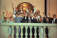 HONG KONG- JULY 1: Members of the democratic party take part in a protest on the balcony of the LEGCO building at midnight July 1, 1997 in Hong Kong, China. On July 1, 1997 Hong Kong was handed over to China from the United Kingdom after being a colony for 150 years. (Photo by David Paul Morris) ..