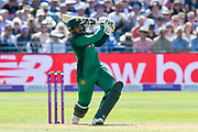 Asif Ali of Pakistan hits the ball over the boundary for six runs during the third Royal London One Day International match between England and Pakistan at the Bristol County Ground, Bristol, United Kingdom on 14 May 2019.