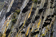 Basalt columns near Kegon Waterfall, Nikko National Park, Tochigi Prefecture, Japan. Kegon Waterfall (Kegon no taki, 97 metres or 318 ft) is the thundering outlet of Lake Chuzenji. Paying for the 100 meter deep elevator gives more impressive views than the free viewing above. Kegon Waterfall  is a short walk from Chuzenjiko Onsen bus terminal.