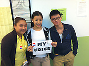 "Lee High School students ""Rock the Vote"" as first-time voters.<br />