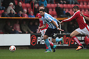 Coventry City defender Aaron Martin chases down the ball during the Sky Bet League 1 match between Swindon Town and Coventry City at the County Ground, Swindon, England on 24 October 2015. Photo by Jemma Phillips.