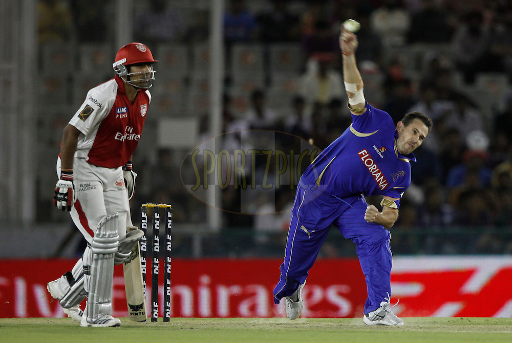 Shaun Tait of Rajasthan Royals bowls, during match 23 of the Indian Premier League ( IPL ) Season 4 between the Kings XI Punjab and the Rajasthan Royal held at the PCA stadium in Mohali, Chandigarh, India on the 21st April 2011..Photo by Pankaj Nangia/BCCI/SPORTZPICS