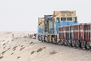 Iron ore train, the longest and heaviest train in the wolrd, Nouadhibou, Western Africa, Mauritania, Africa