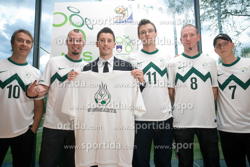 Music group Siddharta (Jani Hace, Tomi Meglic, Bostjan Meglic, Tomaz Okroglic - Rous and Primoz Benko) and captain Robert Koren at official presentation of Slovenian National Football team for World Cup 2010 South Africa, on May 21, 2010 in Congress Center Brdo at Kranj, Slovenia. (Photo by Vid Ponikvar / Sportida)