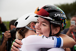 Anna van der Breggen (NED) celebrates the win with her teammates at GP de Plouay - Lorient Agglomération Trophée WNT, a 128 km road race in Plouay, France on August 31, 2019. Photo by Sean Robinson/velofocus.com