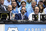 01 December 2015: ESPN broadcast crew of Jay Bilas (left) and Dan Shulman (center). The University of North Carolina Tar Heels hosted the University of Maryland Terrapins at the Dean E. Smith Center in Chapel Hill, North Carolina in a 2015-16 NCAA Division I Men's Basketball game. UNC won the game 89-81.