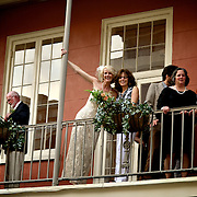 Wedding Reception at Antoine's Restaurant in New Orleans, LA. Group Photos of the wedding party outside.