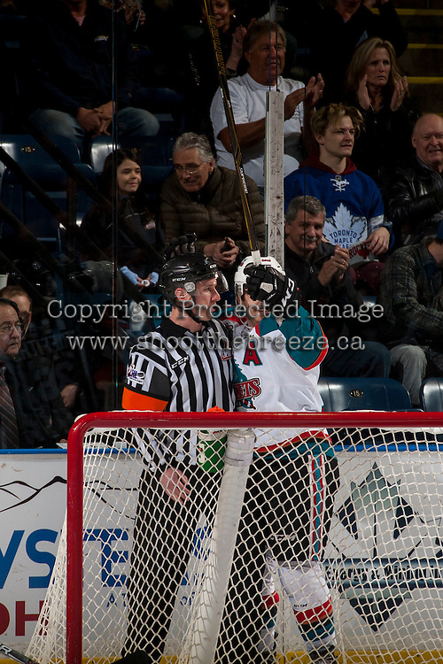 KELOWNA, CANADA - FEBRUARY 22: Nick Merkley #10 of the Kelowna Rockets scores a first period goal and hugs the referee on February 22, 2017 at Prospera Place in Kelowna, British Columbia, Canada.  (Photo by Marissa Baecker/Shoot the Breeze)  *** Local Caption ***