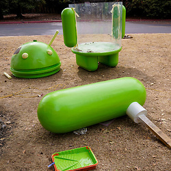 The new location for all previous Android Mascot Sculptures under renovation