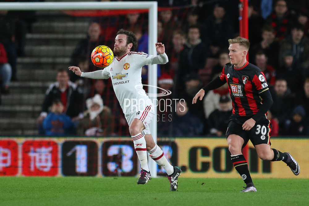 Juan Mata of Manchester United during the Barclays Premier League match between Bournemouth and Manchester United at the Goldsands Stadium, Bournemouth, England on 12 December 2015. Photo by Phil Duncan.