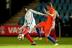 Adetayo Edunof England Under 20s tackles Julian Lelieveld of Netherlands Under 20s - Mandatory by-line: Robbie Stephenson/JMP - 31/08/2017 - FOOTBALL - Telford AFC - Telford, United Kingdom - England v The Netherlands - International Friendly