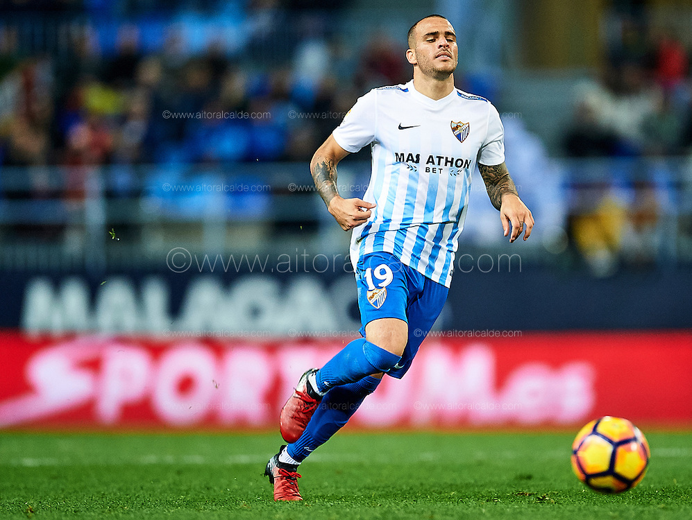 MALAGA, SPAIN - DECEMBER 09:  Sandro Ramirez of Malaga CF in action during La Liga match between Malaga CF and Granada CF at La Rosaleda Stadium December 9, 2016 in Malaga, Spain.  (Photo by Aitor Alcalde Colomer/Getty Images)