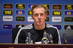 SWANSEA, WALES - Thursday, February 20, 2014: Swansea City's manager Gary Monk at a post-match press conference after the UEFA Europa League Round of 32 match 1st Leg match against SSC Napoli at the Liberty Stadium. (Pic by David Rawcliffe/Propaganda)