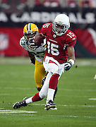 Arizona Cardinals wide receiver Steve Breaston (15) makes a sharp cut as he returns a first quarter punt during the NFC Wild Card Game against the Green Bay Packers, January 10, 2010 in Glendale, Arizona. The Cardinals won the game 51-45 in overtime. ©Paul Anthony Spinelli