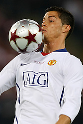 Manchester United's Cristiano Ronaldo  controls the ball with his face during the UEFA Champions League Final match in Roma.May 27 2009.