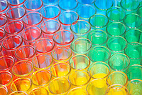 Multi-coloured chemical samples in glasses