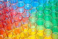 Multi-coloured chemical samples in glasses