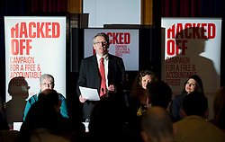 © London News Pictures. 18/03/2013 . London, UK.  Hacked Off's co-founder, Brian Cathcart speaking at a news conference held by members of The Hacked Off campaign in London on March 18, 2013 the three main political parties said they had reached a deal on press regulation. Photo credit : Ben Cawthra/LNP