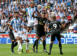 Huddersfield Town's Steve Mounie fires a header at goal  - Mandatory by-line: Matt McNulty/JMP - 20/08/2017 - FOOTBALL - John Smith's Stadium - Huddesfield, England - Huddersfield Town v Newcastle United - Premier League