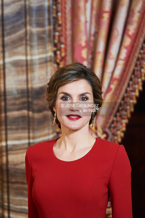 Queen Letizia of Spain attended the lunch in ocassion of the '2015 Cervantes Award' at the Royal Palace on April 22, 2016 in Madrid, Spain