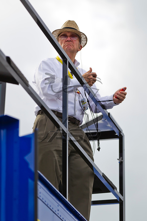 Daytona Beach, FL - Feb 18, 2012:  Car Owner, Jack Roush, watches a practice session for the Daytona 500 at the Daytona International Speedway in Daytona Beach, FL.