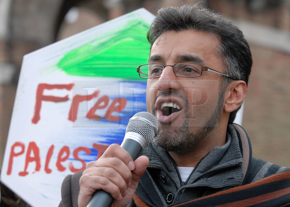 © Licensed to London News Pictures. FILE PICTURE dated 07/02/2009 of Farooq Siddique at a demonstration in Bristol in support of people in Gaza. FAROOQ SIDDIQUE, age 46, appeared today (28/07/2015) at Bristol Magistrates Court charged with three counts of rape, two counts of assault causing actual bodily harm, and one of making a threat to kill. A police spokesman said the charges related to a period between 2009 and 2014. Farooq Siddique is an ex-government adviser, the south west manager for the Government's Prevent strategy, aimed at tackling radicalisation and extremism, and held that position until 2012. He is also a former spokesman and community development officer for the Bristol Muslim Society, is well known within the Muslim community of Bristol, and has spoken out on issues such as terrorism and radicalisation on both a national and city-wide stage.  He was a voluntary Sunday school teacher at Islamic institutions across the city and worked with most of the city's mosques. He was involved with the making of a BBC docu-drama about the radicalisation of Bristol bomber Isa Ibrahim. Photo credit : Simon Chapman/LNP