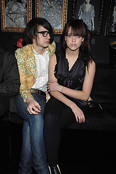 PEACHES GELDOF and FRED LES in the Moet & Chandon Room at British Fashion Week at the Natural History Museum on 14th February 2007.<br />