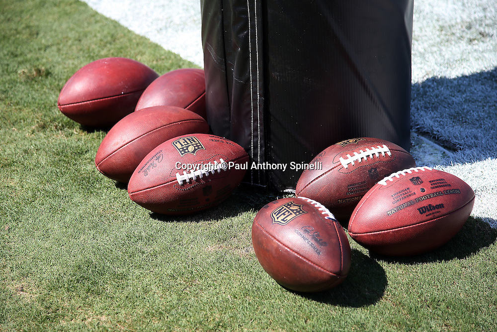 A group of footballs lie on the grass during the Carolina Panthers 2015 NFL week 2 regular season football game against the Houston Texans on Sunday, Sept. 20, 2015 in Charlotte, N.C. The Panthers won the game 24-17. (©Paul Anthony Spinelli)